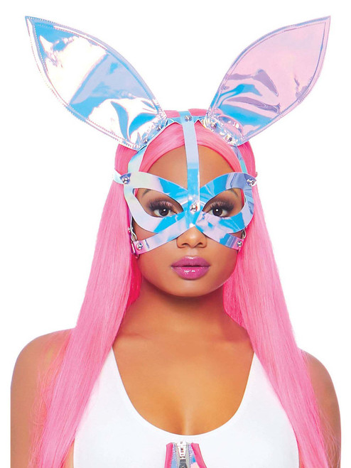 Holographic Vinyl Bunny Festival Ear Mask Headband Accessories