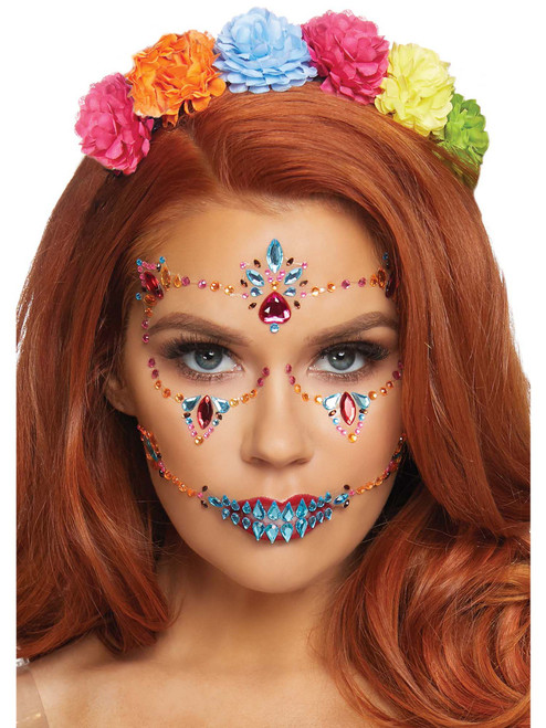 Day of the Dead DOTD Adhesive Face Jewels Stickers Festival Rave Body Bling