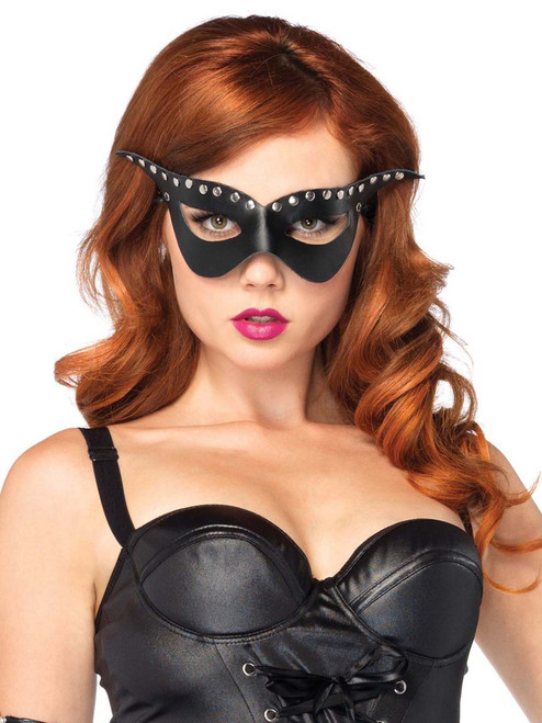 Womens Black Bad Girl Studded Mask Costume Accessories