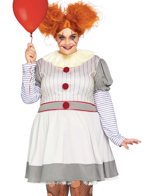 Plus Size Creepy Clown Evil Halloween Roleplay Costume