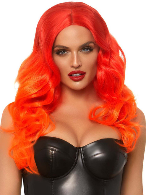 Womens Long Orange Wavy Ombre Wig