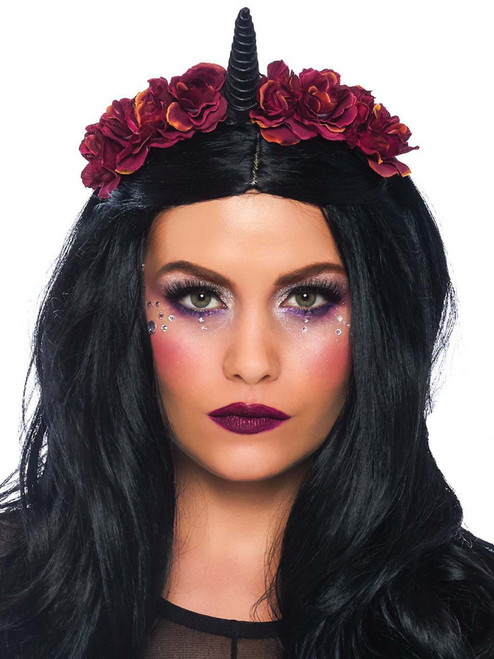 Dark Velvet Gothic Unicorn Burgundy Flower Headband Costume Accessories
