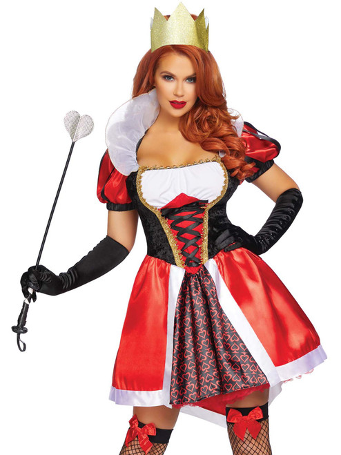 Womens Plus Size Wonderland Royal Red Queen Halloween Roleplay Costume
