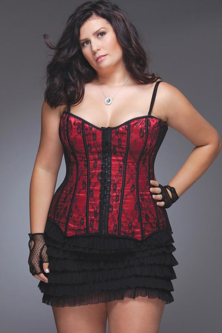 Womens Plus Size Fully Boned Red Lace Corset Top Lingerie