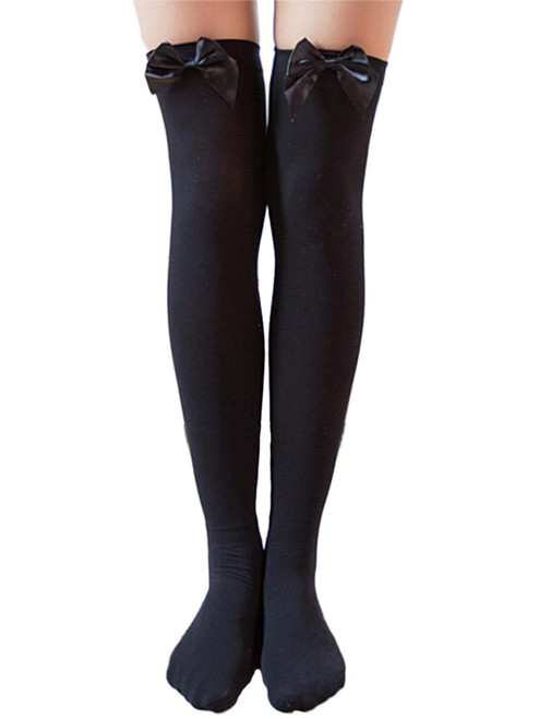 Classic Bow Opaque Thigh High Black Stockings Hosiery