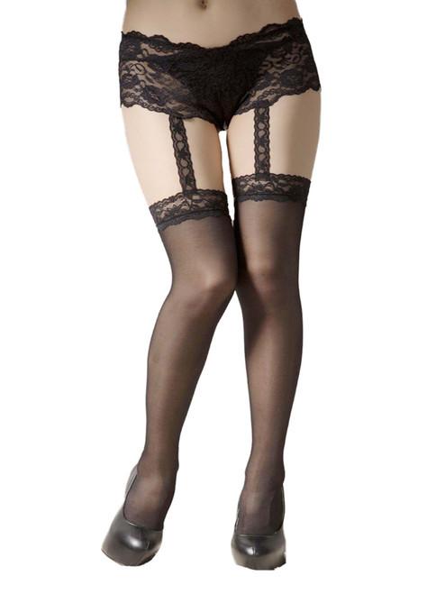 Plus Size Attached Boyshort Garter Belt Stockings Suspender Pantyhose Hosiery
