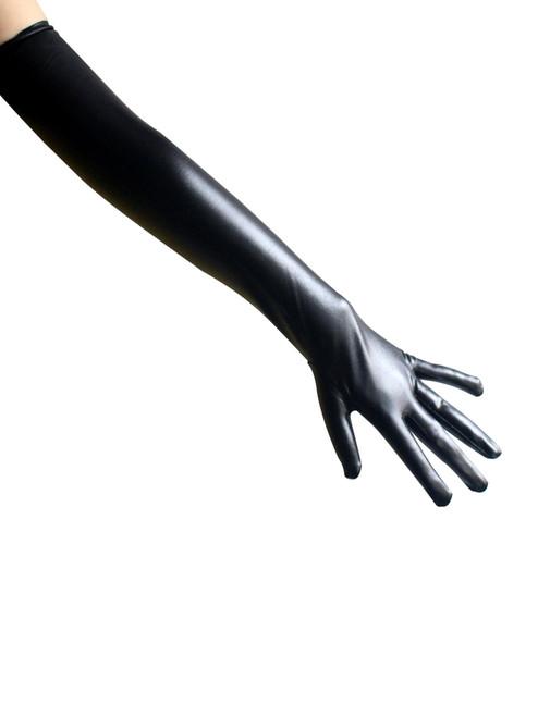 Women Shiny Wet Look Elbow Length Long Sexy Black Gloves