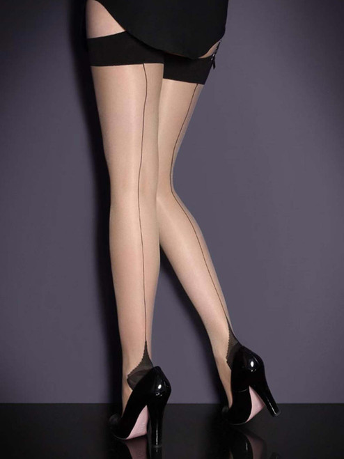 Women Full Figure Plus Size Cuban Heel Stockings Thigh Highs Hosiery For Garter Belts