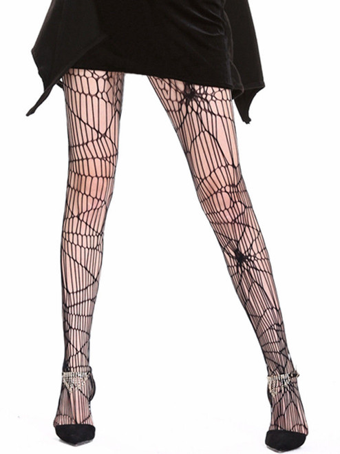 Fishnet Black Spider Net Distressed Pantyhose Halloween Tights
