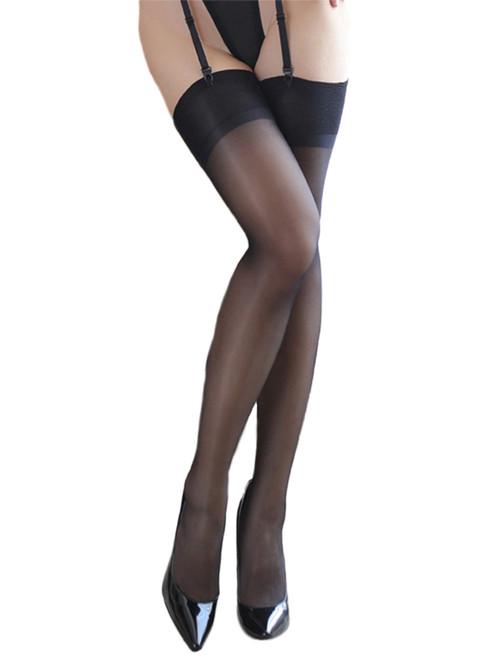 Women Plus Size Classic Sheer Thigh High Plain Top Stockings Hosiery