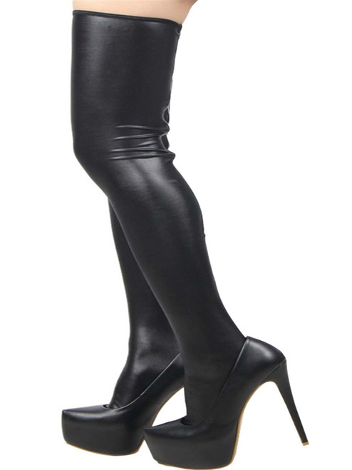 Plus Size Classic Shiny Faux Leather Wet Look Stockings Thigh Highs