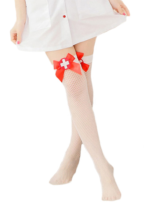 Women Fishnet Contrast Nurse Badge Costume Thigh High Stockings