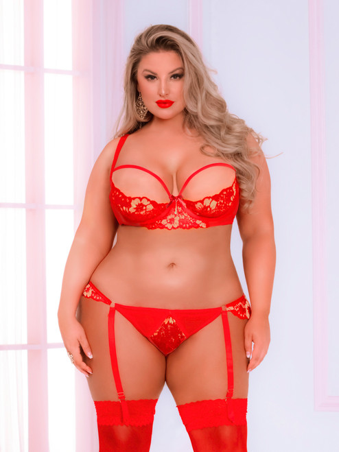 Women Plus Size Red Cross Dye Lace Underwire Bra and Open Back Panty Set