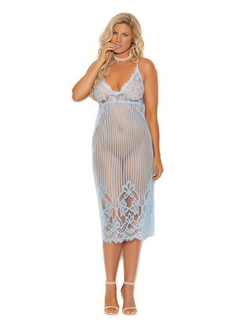 Plus Size Women Eyelash Lace Tea Length Striped Criss Cross Back Gown Lingerie Front View