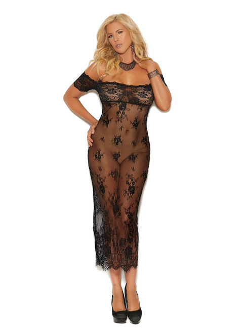 Womens Off Shoulder Lace Tea Length Slit Gown Lingerie Intimates