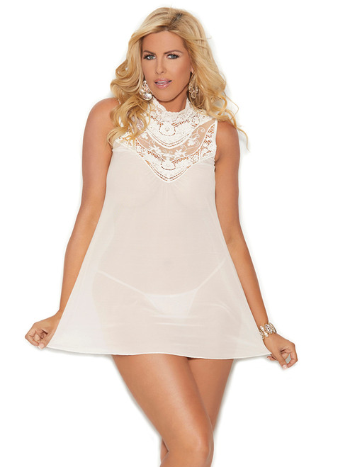 Plus Size Embroidered High Neck Babydoll