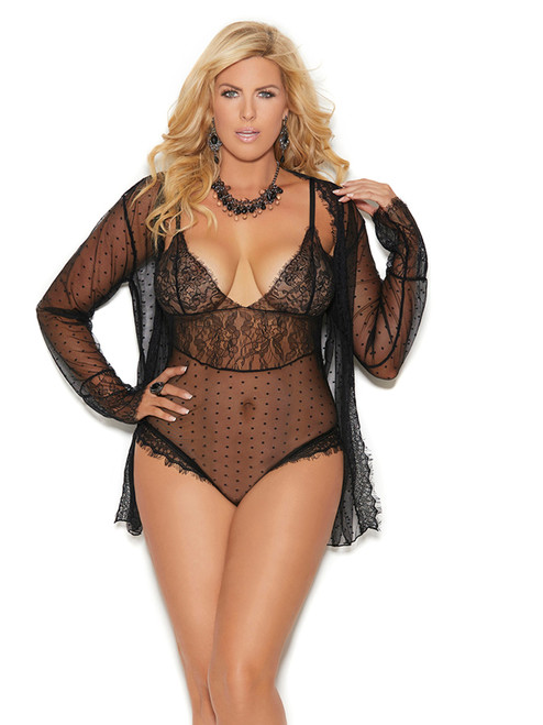 Womens Mesh Polka Dot Lace Bodysuit and Long Sleeve Jacket Lingerie Set