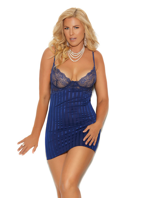 Womens Striped Satin and Mesh Underwire Babydoll Lingerie Set