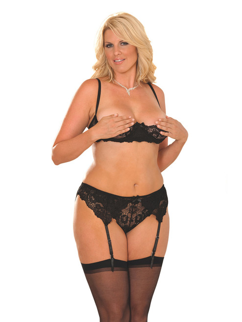 Cupless Bra and Garter Belt Set