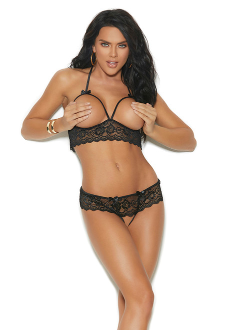Womens Lace Cupless Halter Bra and Crotchless G-String Lingerie Set