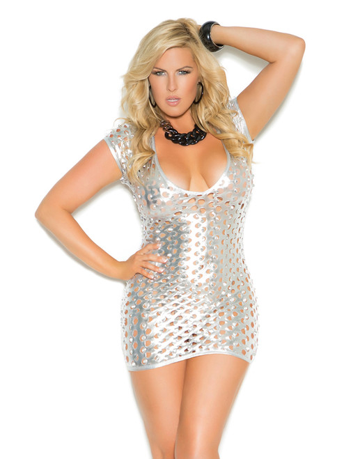 Shiny Cut Out Mini Dress