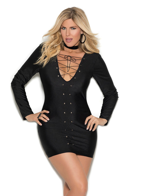 Womens Long Sleeve Lace Up Grommet Lycra Mini Club Dress