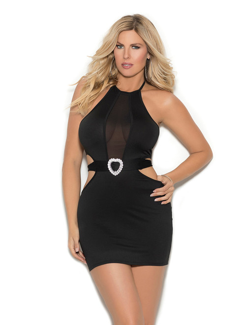 Womens Mesh Insert Halter Neck Lycra Mini Dress