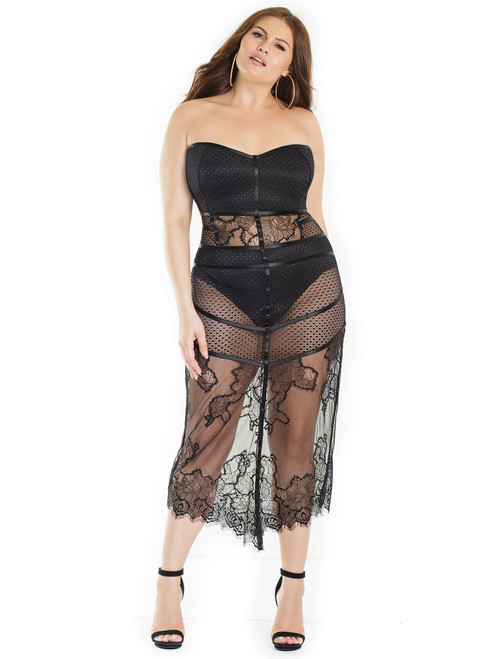 Womens Lace Fence Net Strappy Padded Built In Panty Dress Lingerie