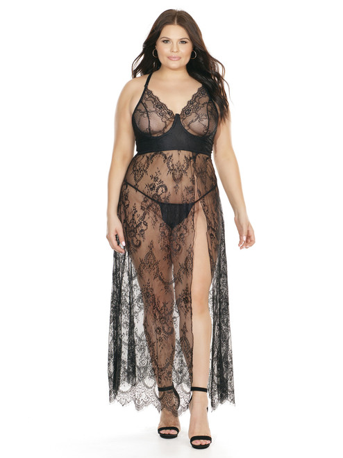 High Slit Underwire Lace Gown Front