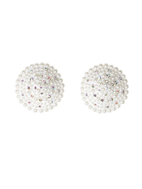 Womens Pearl Bridal Reusable Round Rhinestone Pasties Nipple Covers