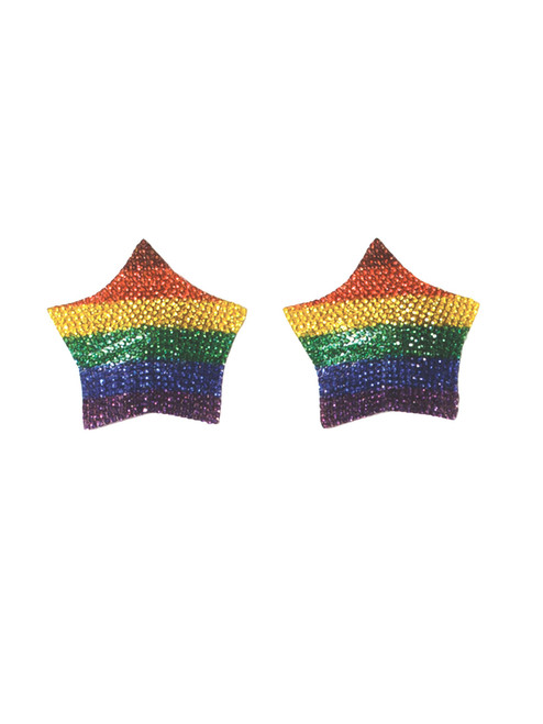 Rhinestone Rainbow Pasties Front