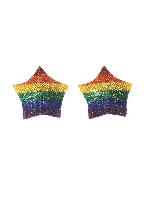 Womens Rhinestone Rainbow Reusable Pride Pasties Nipple Covers