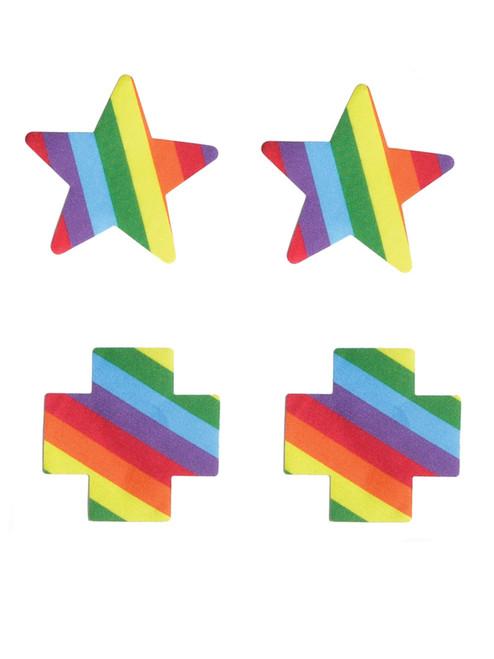 Womens Cross and Star Rainbow Single Use Pride Pasties Nipple Covers
