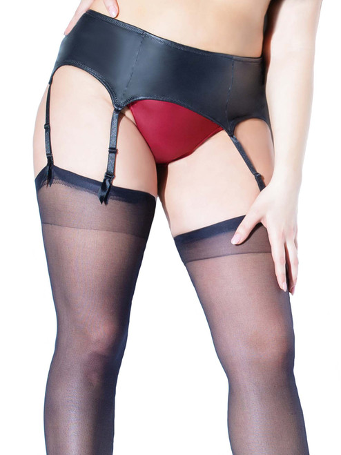 Faux Leather Liquid Matte Wet Look Adjustable Hook Eye Garter Belt Lingerie