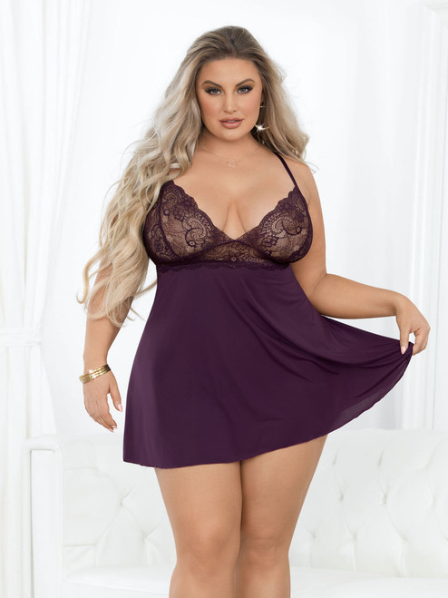Microfiber and Lace Babydoll Front View