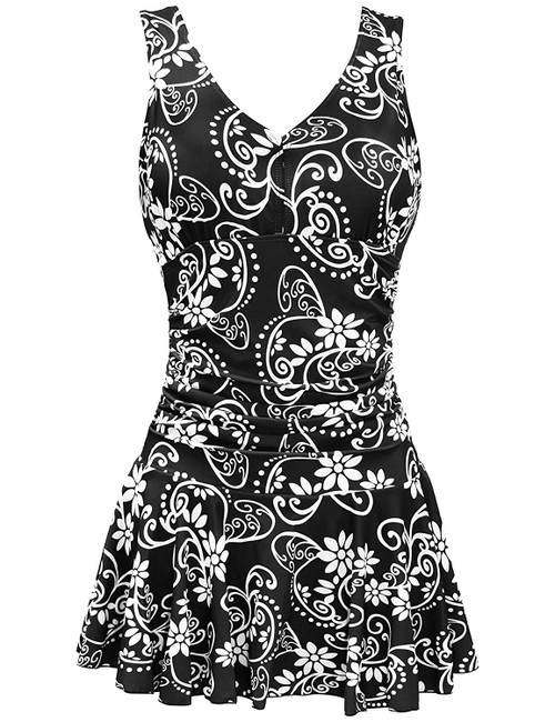 Womens Plus Size Floral Fashion Print Retro Swimdress One Piece Swimsuit Front View