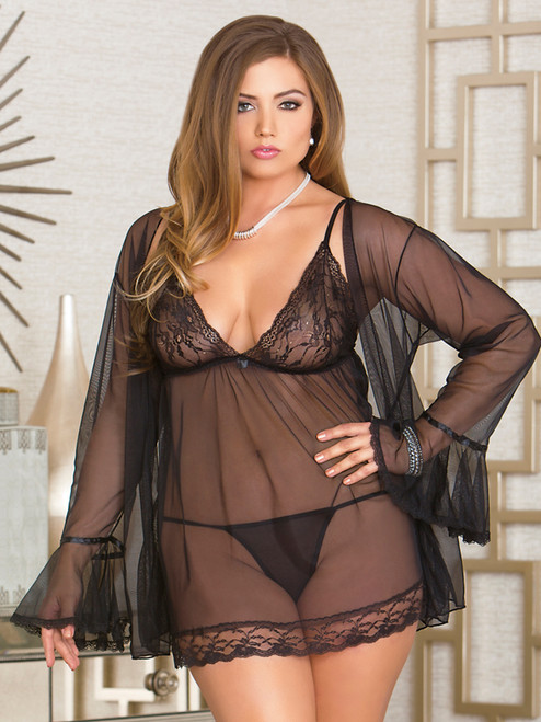 Women Plus Size Sheer Babydoll and Robe Lingerie Gown Peignoir Set Front