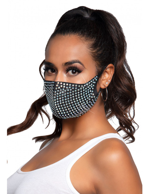 Rhinestone 3D Face Mask front view