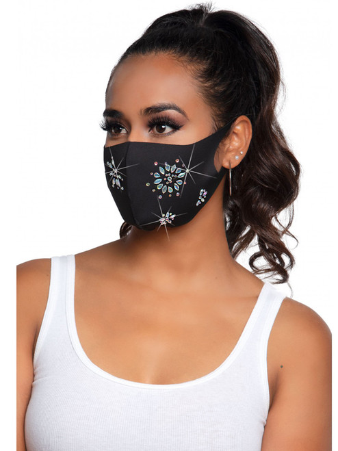 Fleur Rhinestone Fashion Face Mask front view