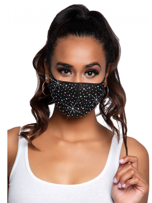 Assorted Rhinestone Face Mask Front View