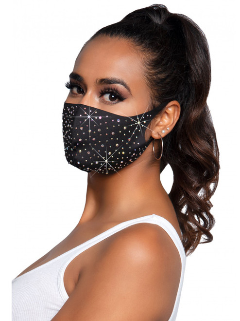 Shiny Fashion Rhinestone Face Mask Covering Side View