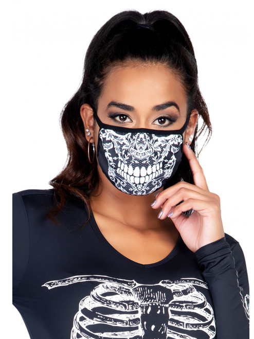 Lace Skull Print Face Mask