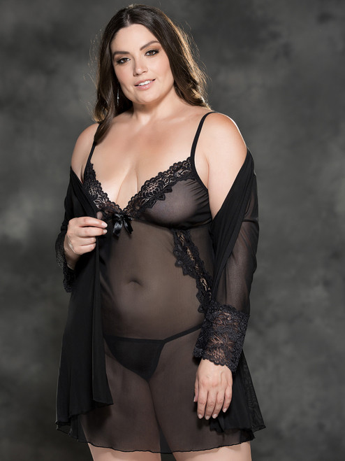 Sensual Lace Peignoir Set