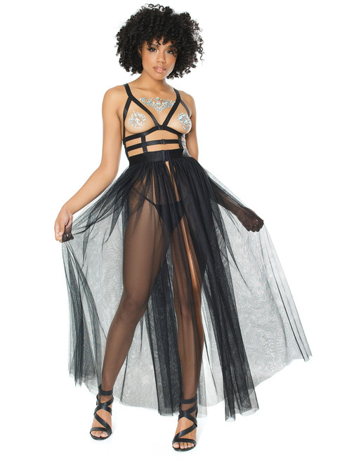 Womens Elastic Cage Bodice Tulle Skirt Dress