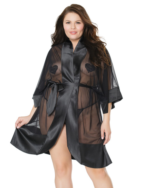Womens Satin and Sheer Kimono Style Robe Lingerie