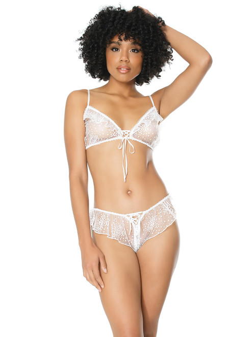 Womens Gathered Cup Ruffle White Bra and Panty Lingerie Set