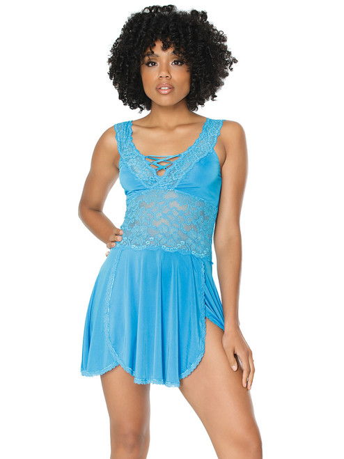 Womens Lace and Microfiber Soft Cup Babydoll Top Lingerie