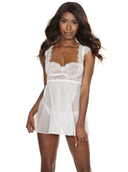 Womens Ruched Soft Lace Cap Sleeve Babydoll White Lingerie
