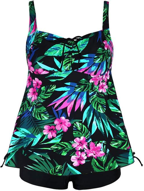 tropical print tankini set swimwear