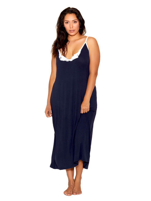 Plus Size Women Long Navy Blue Modal Gown Sleepwear